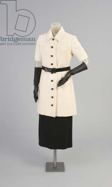 Tunic Jacket with Belt and Skirt, Spring 1969 (wool plain weave, leather, wool twill)