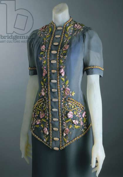 Jacket, Fall 1939 (embroidered georgette, pearl beadwork & silver buttons)
