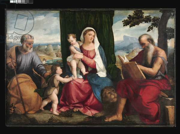 The Holy Family, with the Young Saint John the Baptist and Saint Jerome, c.1530 (oil on canvas)