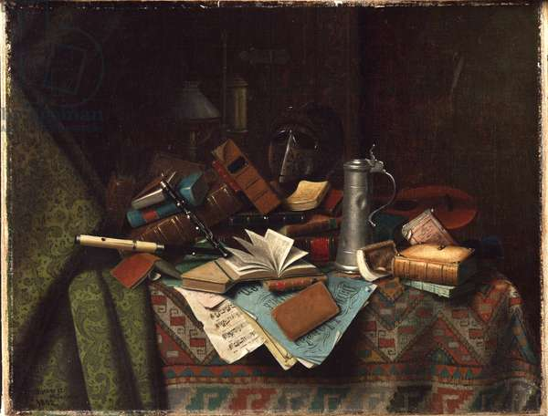 Still Life - A Student's Table, 1882 (oil on canvas)