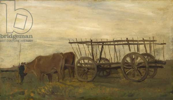 Oxen and a Cart, 1862 (oil on canvas)