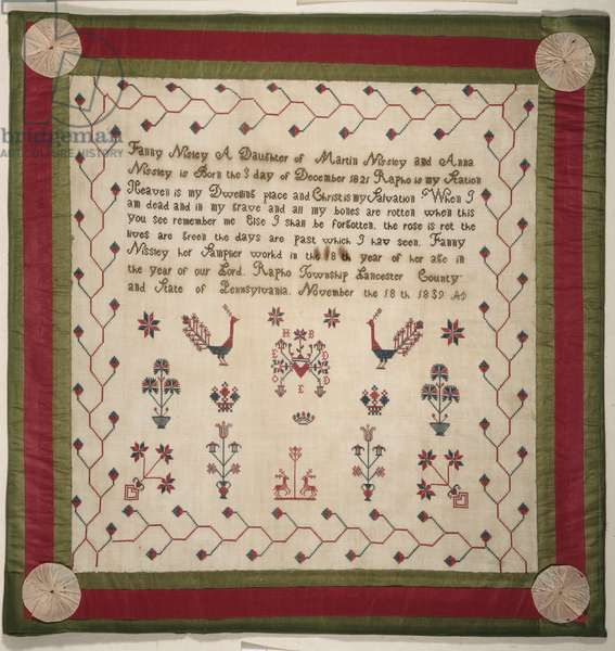 Sampler, 1839 (cotton plain weave with silk & cotton embroidery)
