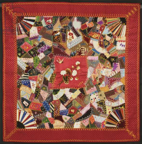 Crazy Quilt, 1884 (silk with silk embroidery)