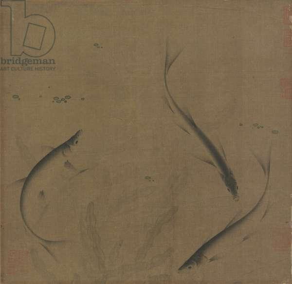 Three Fish (ink & colour on silk)