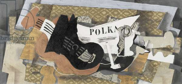 Guitar and Pipe (Polka) 1920-21 (oil & sand on canvas)