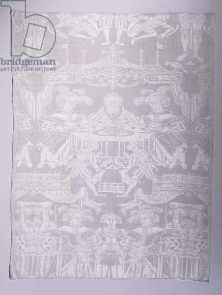 Table Napkin, made in Courtrai, Belgium (linen damask weave)
