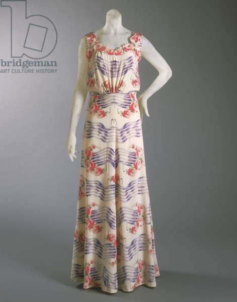Dress designed by Elsa Schiaparelli, Summer 1937 (silk crepe with self appliques & silk velvet ribbon)