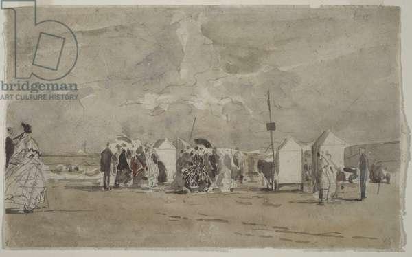 Beach Scene No.1, c.1880 (w/c & graphite on paper)