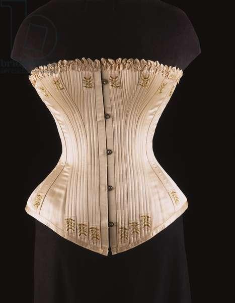 Woman's Corset, c.1890 (embroidered ivory silk satin, baleen & metal busk)