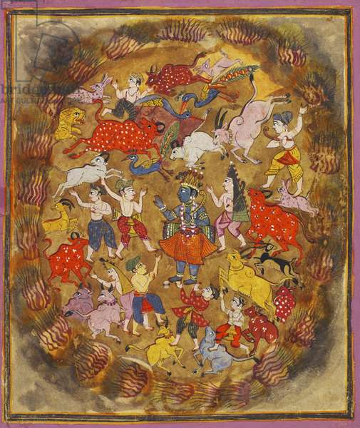 The Cowherds Beg Krishna to Rescue them from a Forest Fire, illustration from a dispersed series of the 'Bhagavata Purana', c.1720 (w/c & gold on paper)