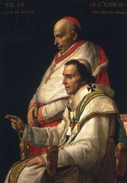 Portrait of Pope Pius VII and Cardinal Caprara, c.1805 (oil on panel)