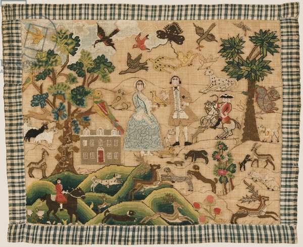 Embroidered Picture, c.1750-60 (silk, wool, metallic thread & linen)