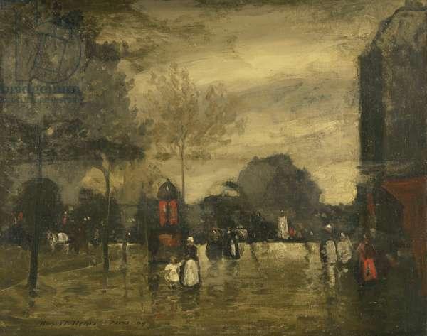 Boulevard in Wet Weather, Paris, 1899 (oil on canvas)