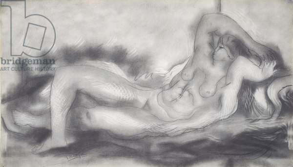 Nude Reclining, c.1924-26 (graphite & charcoal with erasure highlights on paper)