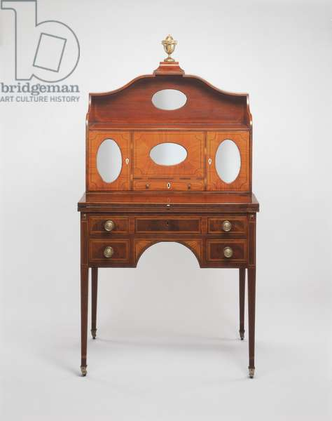 Lady's Cabinet and Writing Table, 1801-06 (mahogany, satinwood, white pine yellow poplar, ivory & silvered glass)