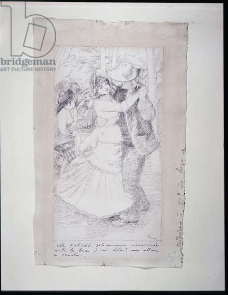 """Dancing Couple (Study for """"Le Bal a Bougival""""), 1883 (pen & ink on white wove paper)"""
