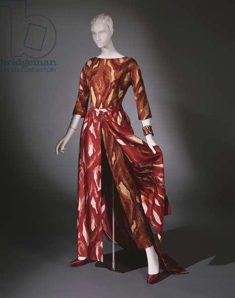 Woman's 'Palazzo Pajamas', 1962 (printed silk satin with bead embroidery)