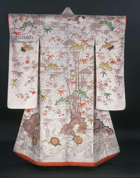 Woman's kimono (Uchikake), c.1750-1850 (silk figured satin)