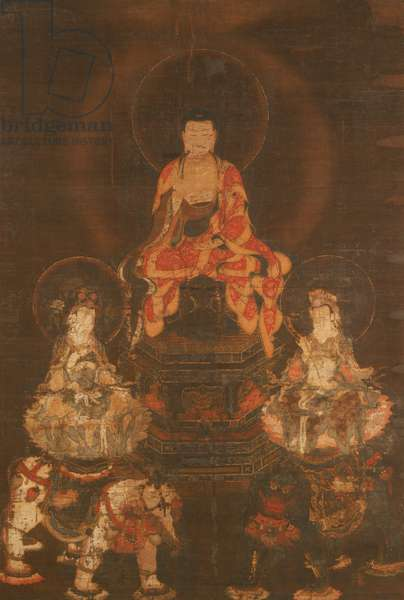 Buddhist Triad, Muromachi Period (1392-1573) (ink & colours on silk)