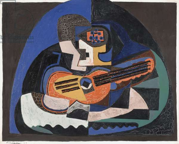 Still Life with a Guitar and a Compote (The Mandolin) 1923 (oil on canvas)