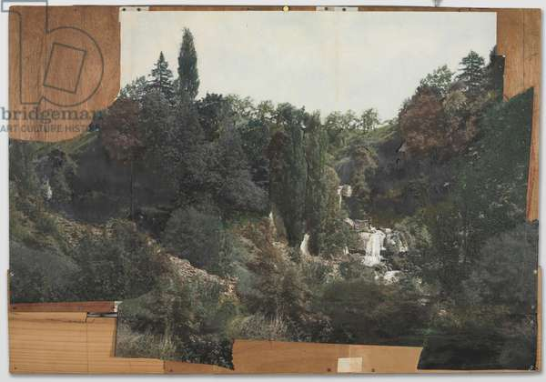 Landscape Collage, Study for Landscape Backdrop of Etant donnes, 1959 (cut gelatin silver prints over paper with paint, ink adhesive on plywood)