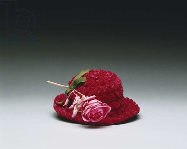 Woman's hat made by Bergdorf Goodman, New York, c.1943 (red silk velvet with artificial rose)