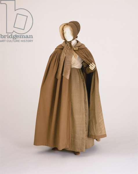 Ensemble for a Quaker Woman: Two Fichus, Bonnet, Cap, Cape, Dress, and Shawl, c.1830 (silk, cotton, wool & satin)