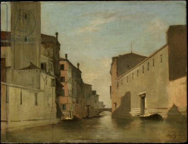 Canal in Venice, c.1870 (oil on panel)