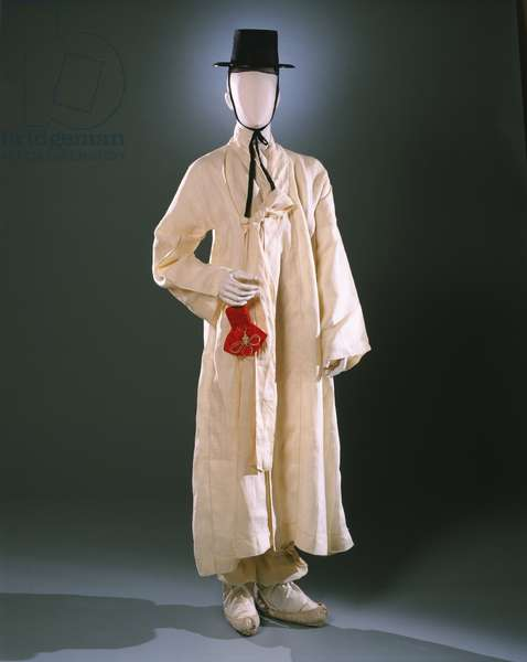 Ensemble for a Korean Man: Shirt, Robe, Socks, Bag, Hat, Hat Liner, Sash, and Tie (four), c.1922 (various textiles including gauze & silk)