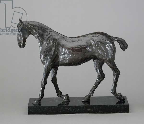 """Model of a Left Leader Horse for """"A May Morning in the Park (The Fairman Rogers Four-in-Hand)"""", 1879 (bronze, marble base)"""