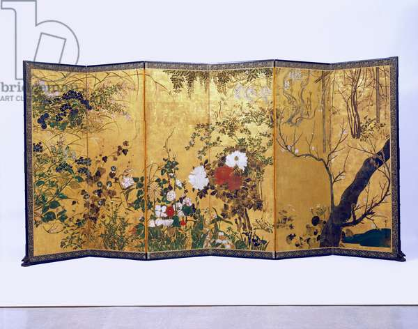 Flowers of the Four Seasons, Edo Period (ink & colour on paper)