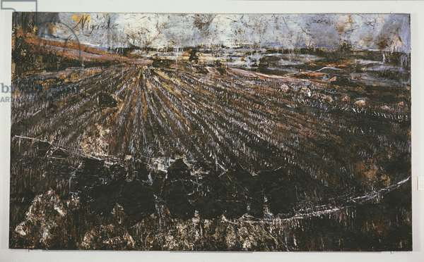 Nigredo, 1984 (oil, acrylic, emulsion, shellac & straw on photo & woodcut, mounted on canvas)