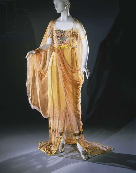 Woman's Dress, c.1921 (Peach silk chiffon with turquoise, chartreuse & pink silk ribbon with metallic trim)