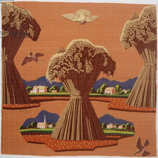 Printed Textile: Harvest Time, 1950 (roller print on cotton plain weave)