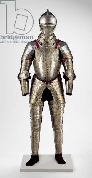 Portions of an Armour Garniture, c.1550 (steel, brass, leather & velvet)