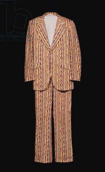 Man's Suit: Jacket and Trousers, 1970 (patterned double-knit wool and polyester)