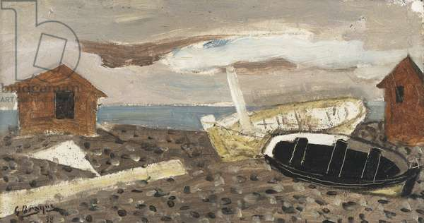 Stormy Beach, 1938 (oil on panel)