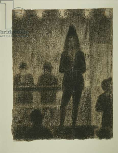 """Trombonist (Study for """"Circus Side Show""""), 1887-88 (conte crayon & chalk on buff laid paper)"""