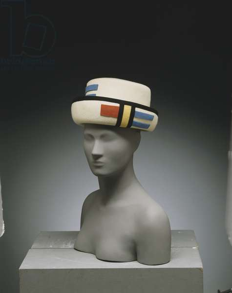 Hat, c.1962 (white felt trimmed with coloured felt and black grosgrain)