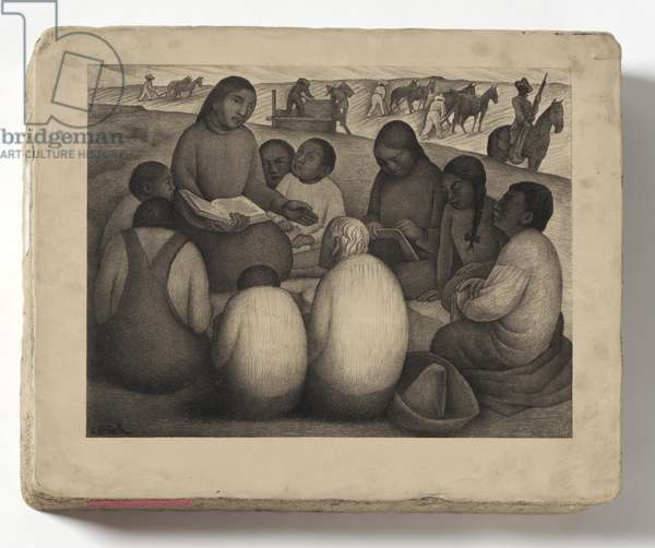 Open Air School, 1932 (lithograph stone) (see 450987 for opposite)