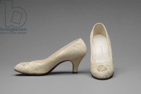 Grace Kelly's Wedding Shoes, 1956 (silk, needle lace, seed pearls, glass beads & leather)