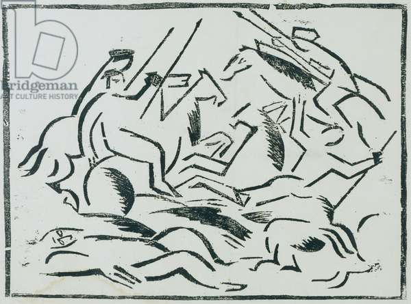 Battle, from the portfolio Voina (War), 1915-16 (linocut)