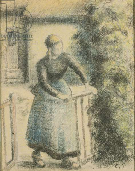 Peasant Woman at Gate, late 19th century (black & coloured chalks on cream laid paper)