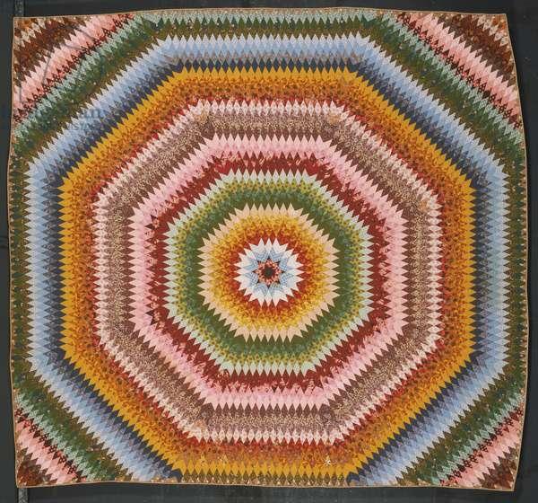Sunburst Quilt, 1839 (roller-printed cotton plain-weave pieced work)