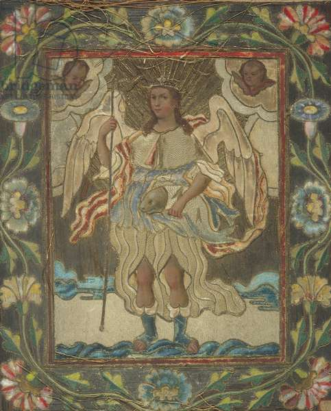 The Archangel Raphael, early 19th century (thread, wax, paint, paper & wood)