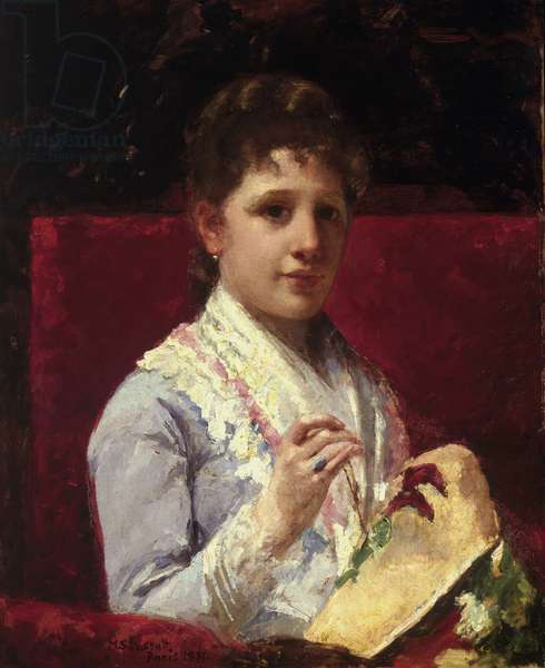 Mary Ellison Embroidering, 1877 (oil on canvas)