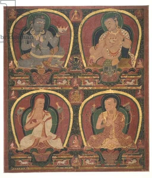 Damarupada, Avadhutipada, Gayadhara and La-chen Drog-mi with Sakya Lineage, c.15th century (colors on cloth)