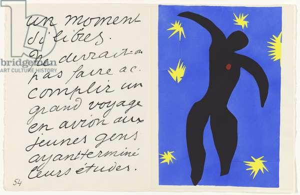 Icarus, illustration from the portfolio 'Jazz', 1947 (colour stencil print)