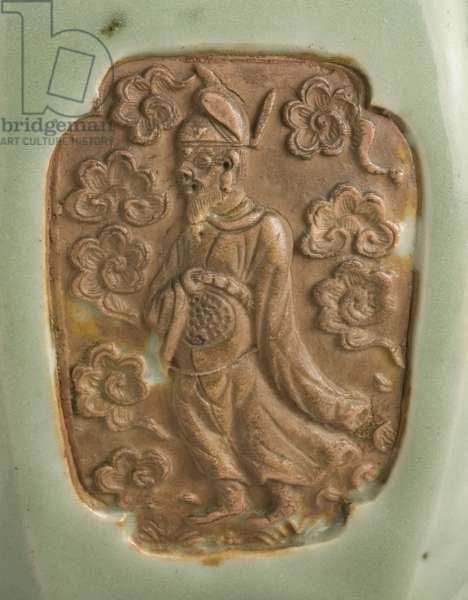 Detail of Vase (Meiping) with Eight Daoist Immortals, c.1350 (glazed porcellaneous ware with mold-impressed decoration) (see also 434520)
