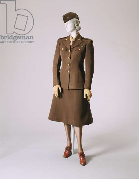 Woman's Uniform: Jacket with War Correspondent Patch on Left Sleeve, 1945 (olive green wool)